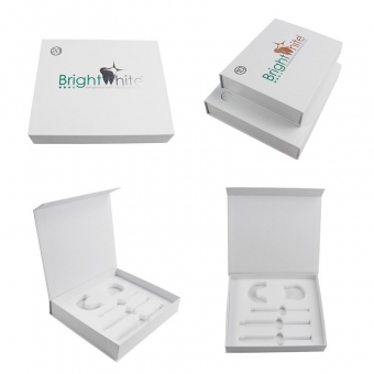 Silver Foil Logo Cosmetic White Magnetic Box