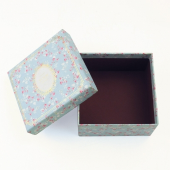 Custom blue romantic flower pattern gift lid and base box