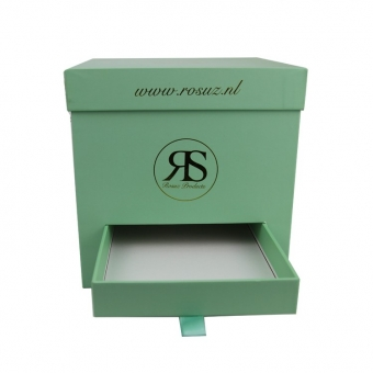 Custom square green gift lid and base gift box with drawer