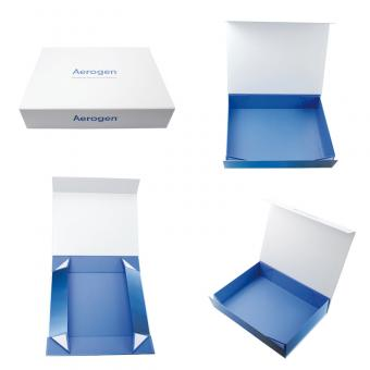 White box with logo printing inside blue plain cardboard foldable box